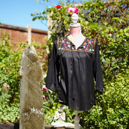Boho Gypsy Top Black Pattern 1