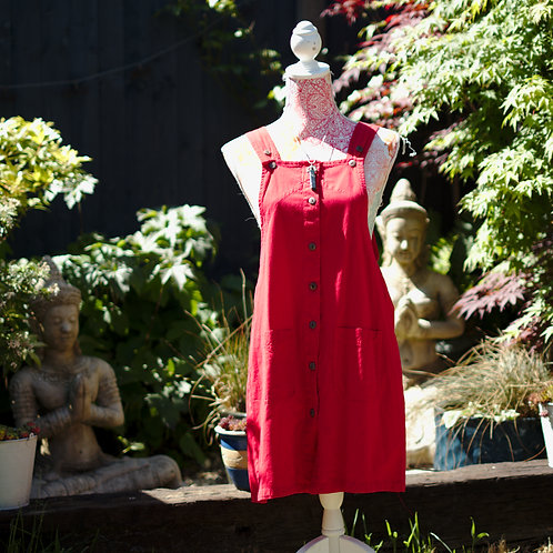 Cotton Dungaree Dress Red M