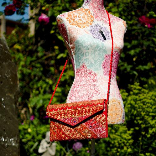 Antique Fabric Clutch/Shoulder Bag