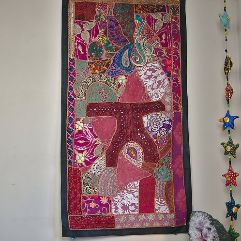 Vintage Embroidered Tapestry Wall Hanging