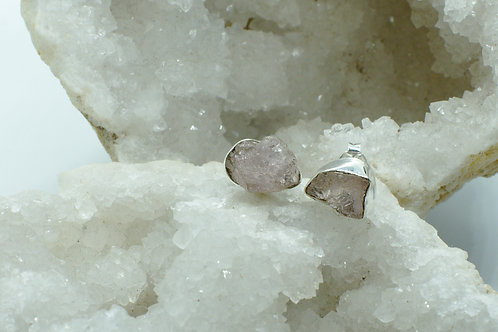 Raw Morganite Sterling Silver Stud Earrings MF