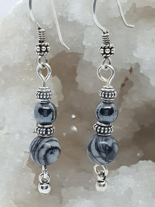 Picture Jasper & Hematite Silver Earrings