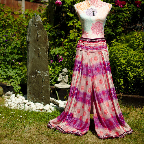 Recycled Sari Silk Umbrella Trousers Natural/Purple