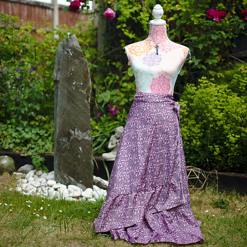 Recycled Sari Silk Long Wrap Skirt Purple