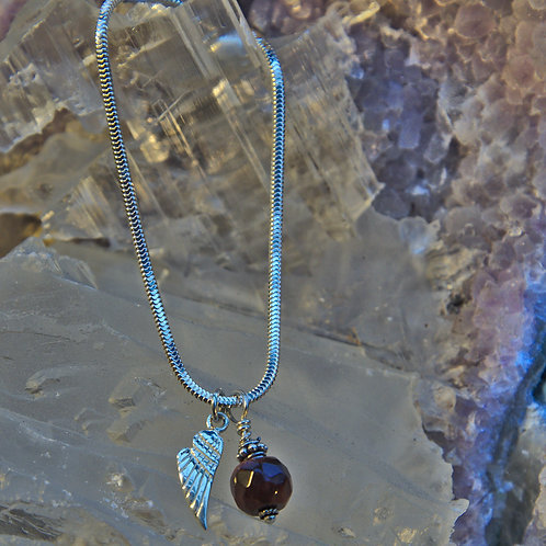 Red Tigers Eye and Angel Wing Sterling Silver Charm Bracelet