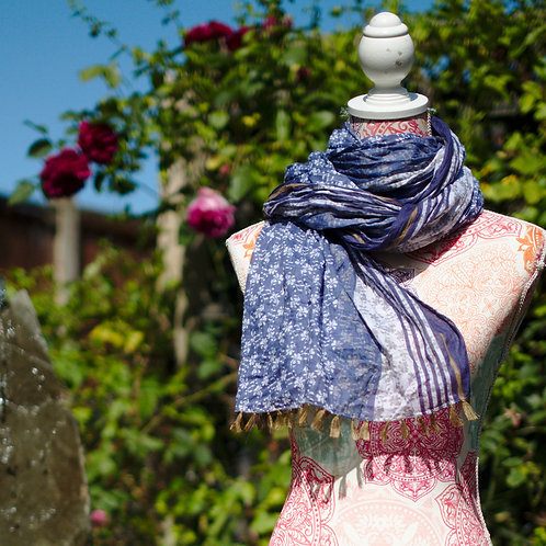 Floral & Stripe Cotton Scarf