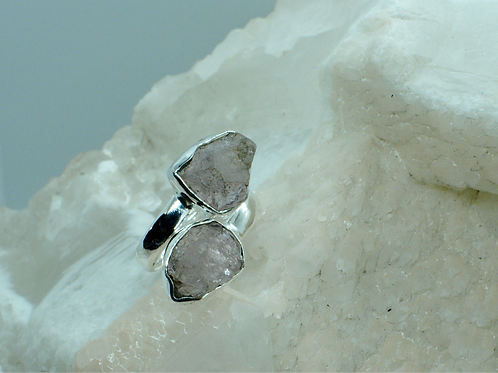 Raw Morganite Sterling Silver Adjustable Ring Size 8