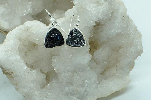 Raw Black Tourmaline Sterling Silver Drop Earrings TA