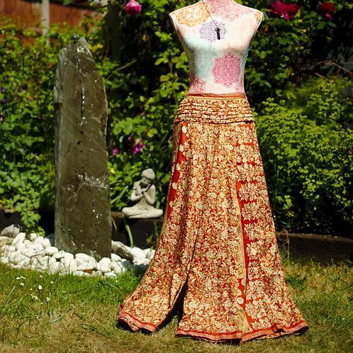 Recycled Sari Silk Umbrella Trousers Rust and Orange