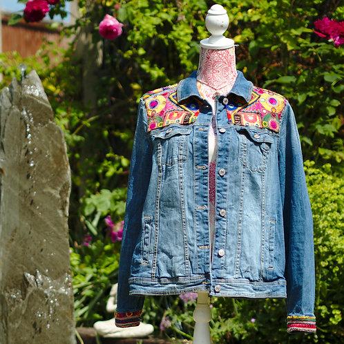 Antique Embroidered Denim Jacket 2 Size XL
