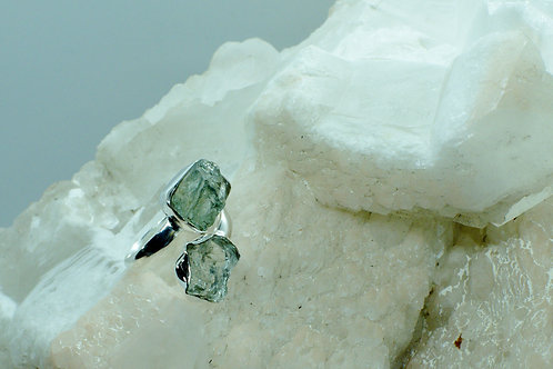 Raw Aquamarine Sterling Silver Adjustable Ring Size 9