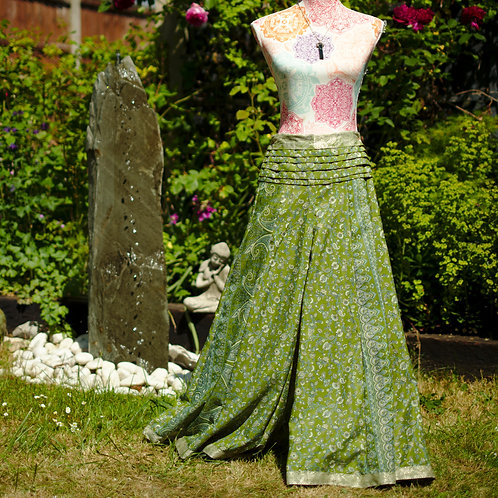 Recycled Sari Silk Umbrella Trousers Green