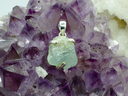 Claw Set Aquamarine Sterling Silver Pendant