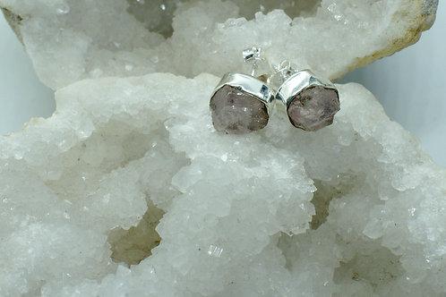 Raw Morganite Sterling Silver Stud Earrings MA