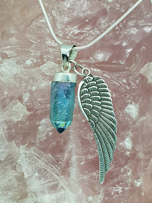 Stunning Aqua Aura Point & Angel Wing Pendant