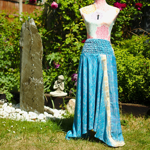 Recycled Sari Silk Harem Trousers Turquoise
