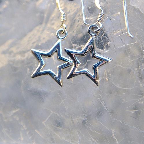 Dainty Sterling Silver Star Drop Earrings