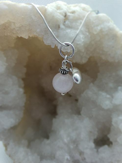 Rose Quartz & Silver Heart Pendant