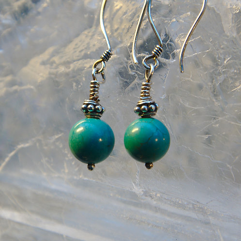 Simple Turquoise Sterling Silver Drop Earrings