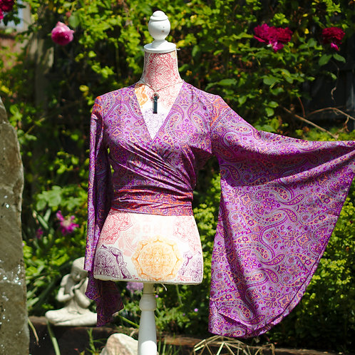 Recycled Sari Silk Butterfly Sleeve Top Purple Paisley