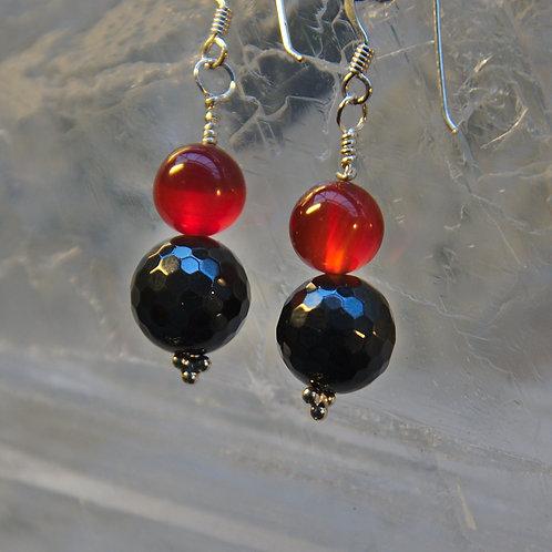 Black Onyx & Carnelian Sterling Silver Drop Earrings