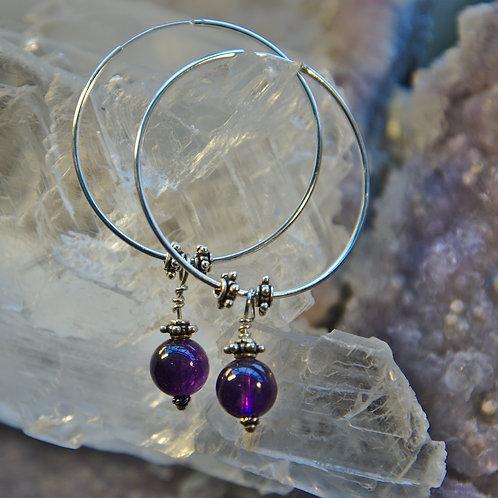 Stunning Amethyst Sterling Silver Hoop Earrings