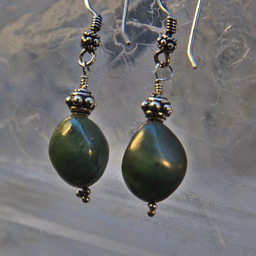 Nephrite Jade Sterling Silver Drop Earrings