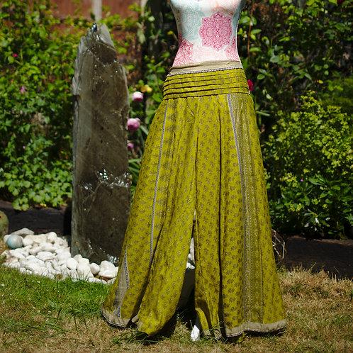 Recycled Sari Silk Umbrella Trousers Chartreuse