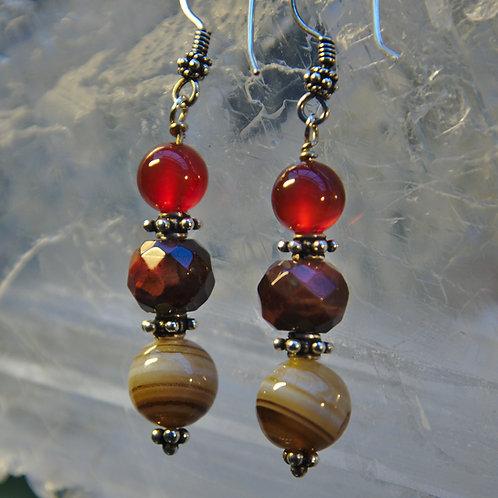 Banded Agate, Red Tigers Eye & Carnelian Sterling Silver Drop Earrings