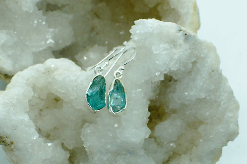 Raw Apatite Sterling Silver Drop Earrings APB