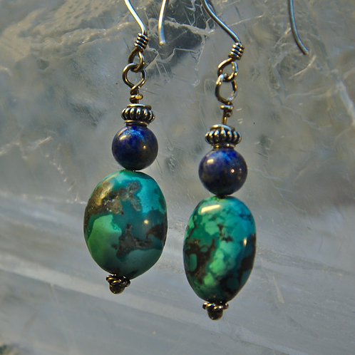 Turquoise & Lapis Lazuli Sterling Silver Drop Earrings