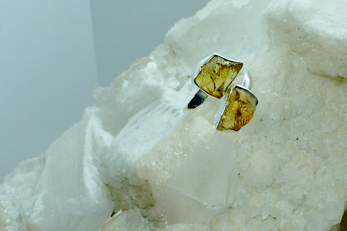 Raw Citrine Sterling Silver Adjustable Ring Size 9