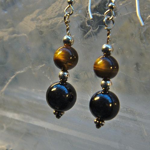 Black Onyx & Tigers Eye Sterling Silver Drop Earrings