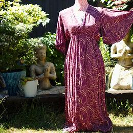 Angel Sleeve Feather Print Dress Purple