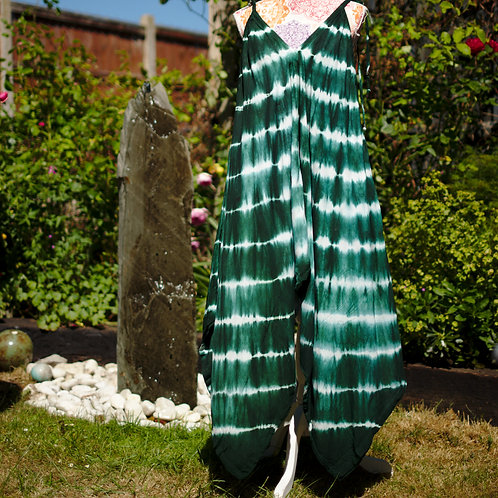 Bali Afgani Tie-Dye Playsuit Bottle Green