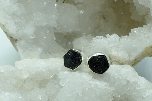 Raw Black Tourmaline Sterling Silver Stud Earrings TB