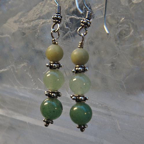 Aventurine & Jade Sterling Silver Drop Earrings