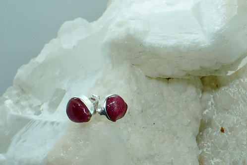 Raw Ruby Sterling Silver Stud Earrings RB