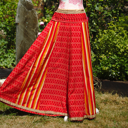 Recycled Sari Silk Umbrella Trousers Red/Gold Stripe