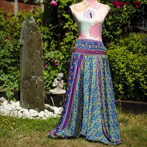 Recycled Sari Silk Harem Trousers Blue/Green