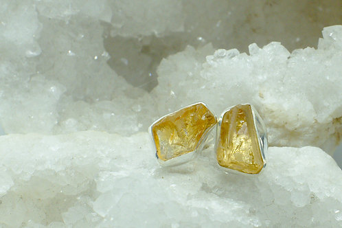 Raw Citrine Sterling silver Stud Earrings CB