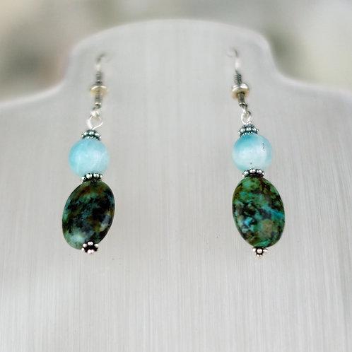 Turquoise Jasper and Amazonite Earrings