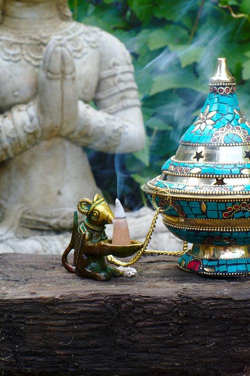 Brass Rat Incense Cone Holder Small