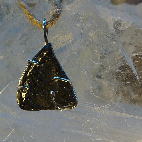Stunning Tektite Meteorite Sterling Silver Pendant
