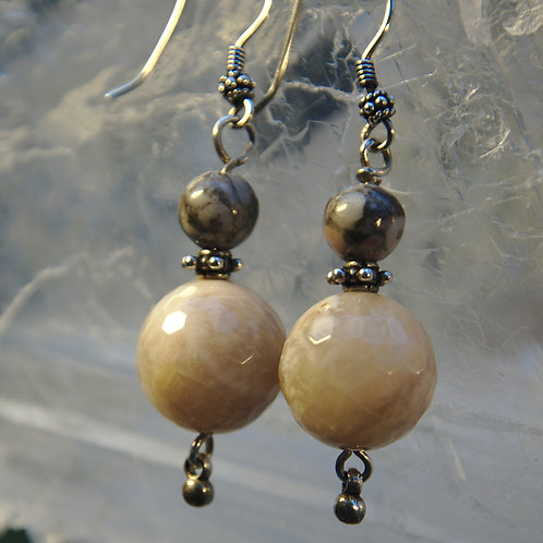 Faceted Peach Moonstone & Snakeskin Jasper  Drop Earrings