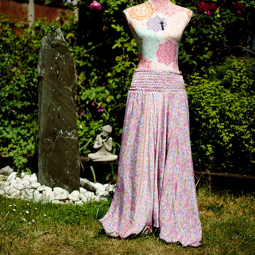 Recycled Sari Silk Harem Trousers Pink Ditsy