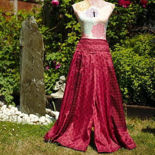 Recycled Sari Silk Umbrella Trousers Maroon