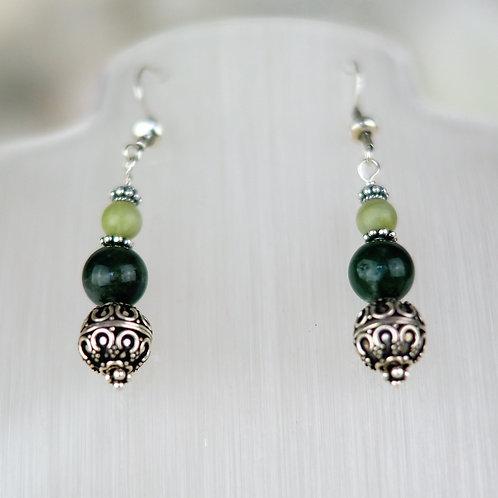 Moss Agate, Jade and Ornate Bead Earrings