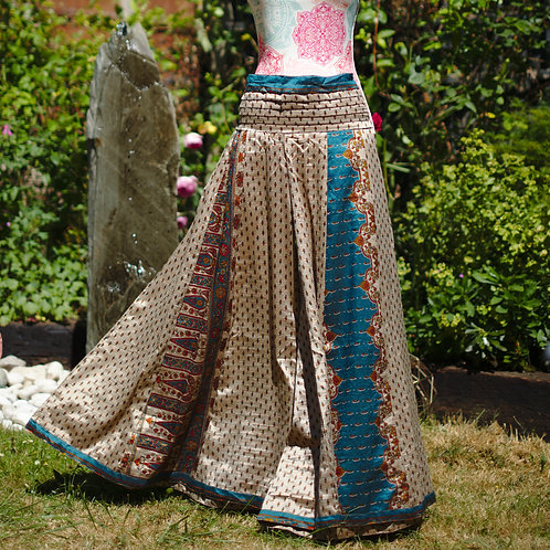 Recycled Sari Silk Umbrella Trousers Taupe/Teal