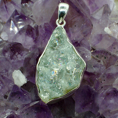 Large Raw Aquamarine Sterling Silver Pendant AQA